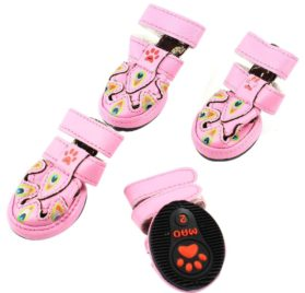 Peacock Print Pet Dog Cat Doggy Sandals Shoes XXS 2 Pairs Pink - 1