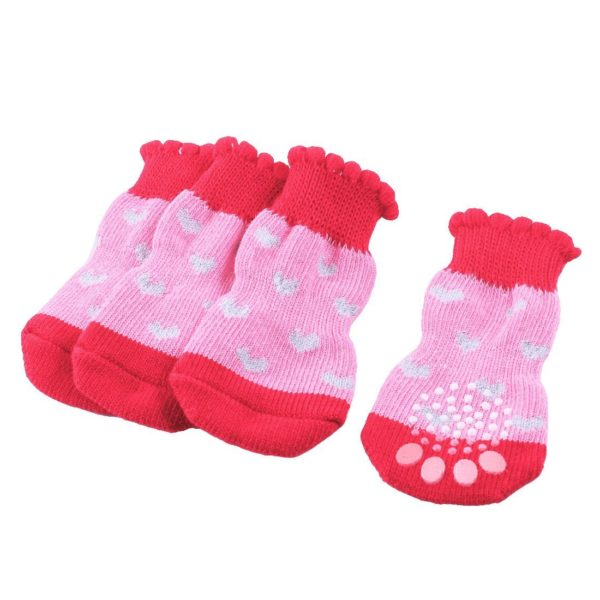 2 Pairs Heart Pattern Elastic Knitted Pet Dog Yorkie Socks Red Pink S