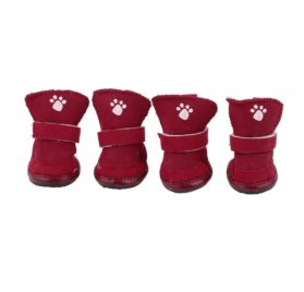 Nonslip Rubber Sole Pet Yorkie Doggie Warm Shoes Boots XXS 2 Pair Red - 1