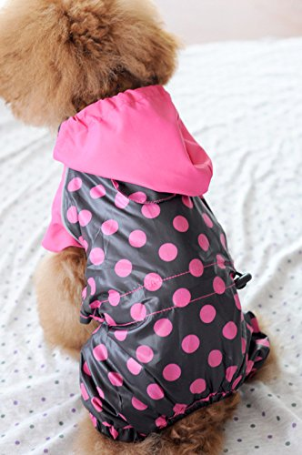 Dogloveit Waterproof Polka Dot Rain Coat Dog Clothes For Puppy Cat - 1
