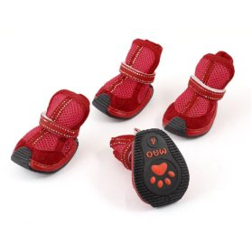 Pet Dog Poodle Mesh Design Nonslip Sole Shoes Boot S 2 Pairs Red - 1