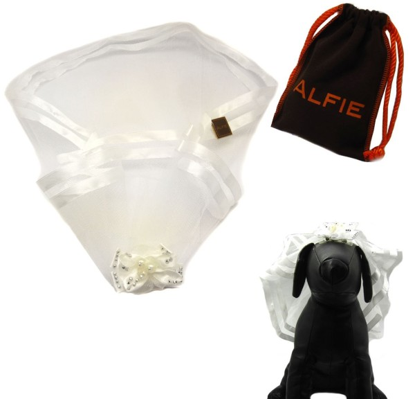 Alfie Pet by Petoga Couture - Khloe Bridal Wedding Clip Veil with Fabric Storage Bag - 1