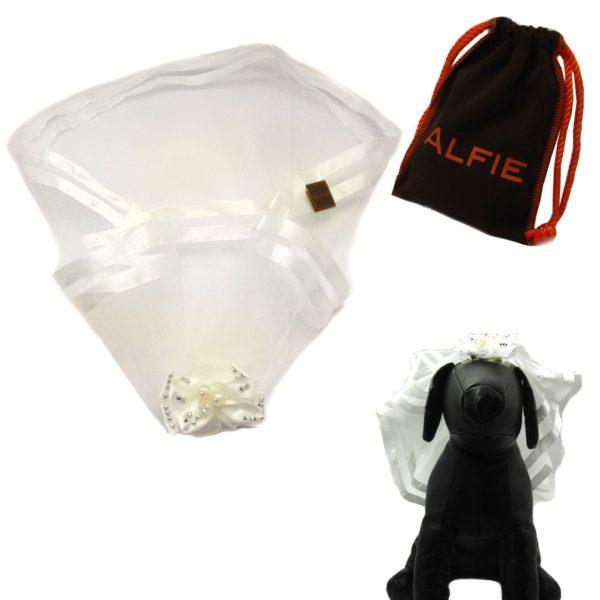 Alfie Pet by Petoga Couture - Khloe Bridal Wedding Clip Veil with Fabric Storage Bag - 1