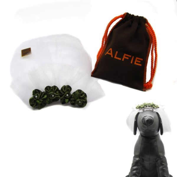 Alfie Pet by Petoga Couture - Rosie Bridal Wedding Clip Veil with Fabric Storage Bag - 1