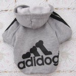 Angel Mall Adidog Hoodie Pet Clothes Dog Sweater Puppy Sweatshirt Warm Small Coat Christmas Gift 1-pc Set (Grey) -