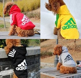 Angel Mall Adidog Hoodie Pet Clothes Dog Sweater Puppy Sweatshirt Warm Small Coat Christmas Gift 1-pc Set (Grey) - 2