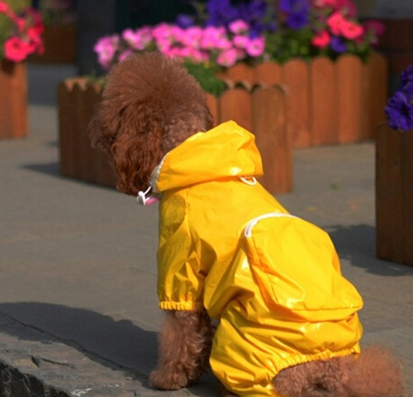 Bro'Bear Polyester Nylon 2-layer Design Small Dog Hooded Raincoat 4-legged Rain Jacket Doggie Jumpsuit Waterproof Windproof Packable Adjustable Rainy Days Slicker with Bulit-in Carrying Pouch for Teddy, Poodle, Pug, Chihuahua, Shih Tzu, Yorkshire Terriers, Papillon, Bichon Frise, Miniature Pinscher, Jack Russell Terrier, Havanese, Scottish Terrier, Wire Fox Terrier - 1