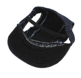 Elastic Chin Strap Pet Baseball Cap Visor Hat Dark Blue - 2