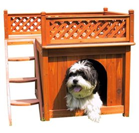 Dog House Merry Pet Wood Room With A View Cedar Deck Balcony Steps Cat Raised - 2