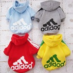 Angel Mall Adidog Hoodie Pet Clothes Dog Sweater Puppy Sweatshirt Warm Small Coat Christmas Gift 1-pc Set (Grey) - 4