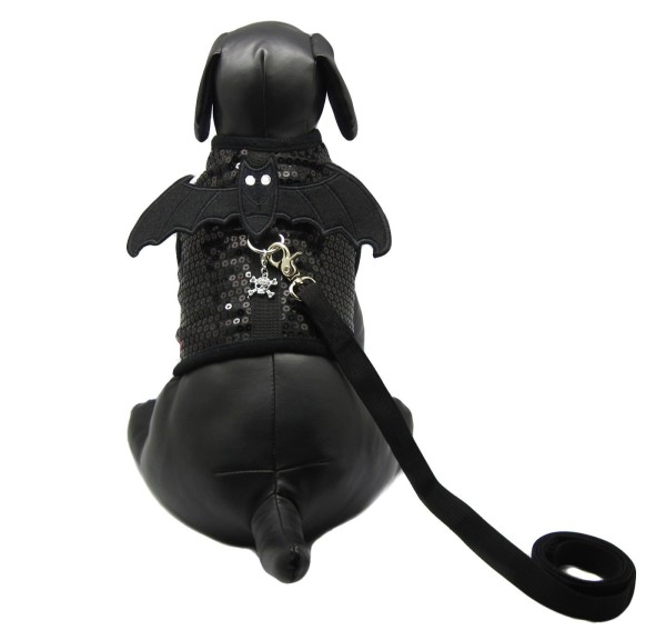 Peti Devil Wing with Skull Charm Harness and Leash Set - Color: Black