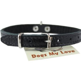 Genuine Leather Felt Padded Dog Collar X-Small