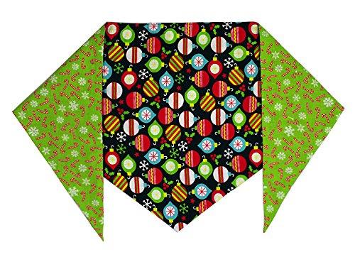 """Christmas Ornaments Dog Bandana (S) Ties on 9"""" - 10"""" Neck - 1"""