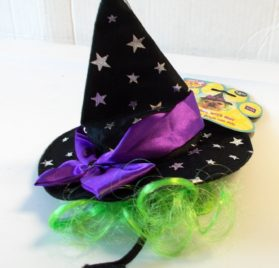 Rubies Costume Star Witch Hat with Hair Pet Accessory, Small/Medium
