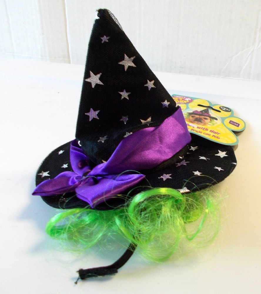 Rubies Costume Star Witch Hat with Hair Pet Accessory