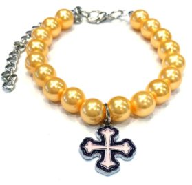 Pearl Pet Necklace with Cross Charm (Multi-Color)