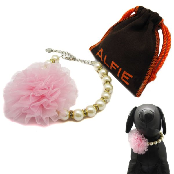 Alfie Pet by Petoga Couture - Parvani Floral Pearl Necklace for Dogs and Cats with Fabric Storage Bag, Color: Pink - 1