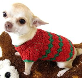 Red Green Christmas Dog Sweater Warm Cotton Puppy Clothes Pet Clothing Handmade Crochet Chihuahua Apparel Cute Dk875 Myknitt - Free Shipping - 1