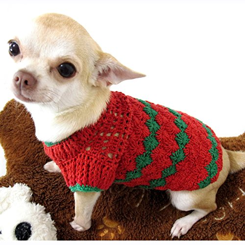 Red Green Christmas Dog Sweater Warm Cotton Puppy Clothes Pet