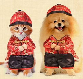 Dogloveit Chinese New Year Style With Hat Costume Clothes for Pet Dog Puppy Cat- 1