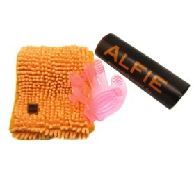 Alfie Pet by Petoga Couture - Cadee Microfiber Fast-Dry Chenille Towel (28 x 6 inch) with Bath Brush Massage Mitten Set - 1