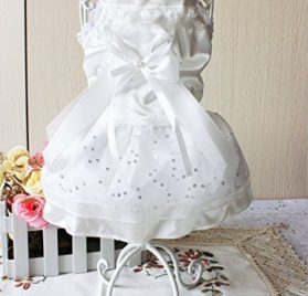 Dogloveit Stretch Satin Wedding Style Tutu Dress With Lace and Bow Summer Cute Clothes For Dog Cat Puppy Pet - 3