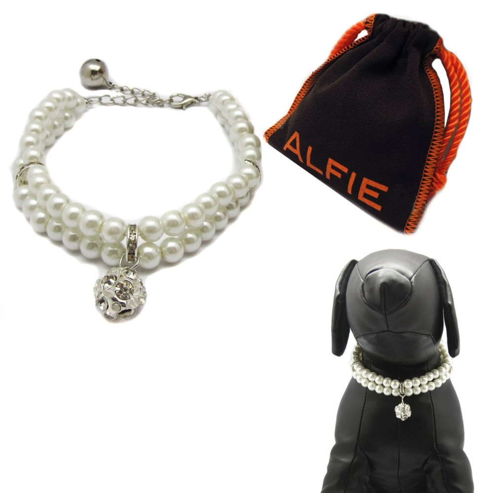 Alfie Pet by Petoga Couture - Lizbeth Double Layer Pearl Necklace for Dogs and Cats with Fabric Storage Bag, Color: White - 1