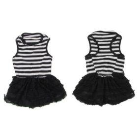 SODIAL(R) Lace Decor Stripe Printed Pet Chihuahua Dress Apparel Clothing Black White M - 1