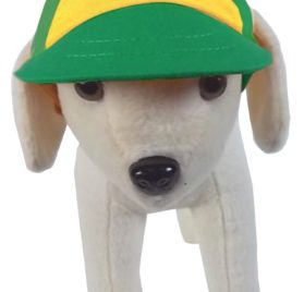 UP Collection Basic Yellow with Green Bone Print Cap for Dogs