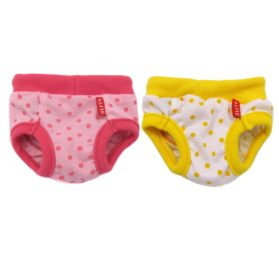 Alfie Pet Apparel - Zoe Diaper Dog Sanitary Pantie 2-Piece Set - Colors: Yellow and Pink (for Girl Dogs) - 2