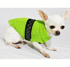 Lime Green Dog Costumes with Black Shiny Steam Punk Accessories Pet Clothing Handmade Crochet Chihuahua Clothes Puppy Df48 By Myknitt - Free Shipping - 1