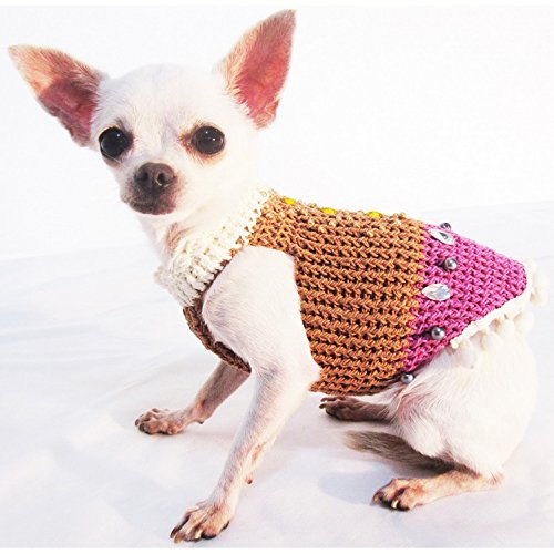 Vintage Classic Dog Harness Fancy Bling Bling Crystal Beads Pet Sweater