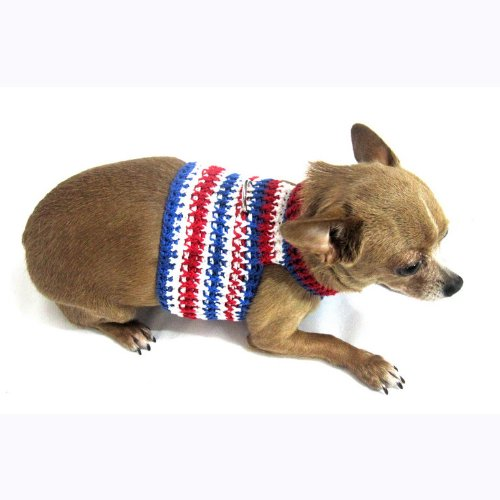 Myknitt Handmade Knit Pet Harnesses July 4th USA Independence Dog Harness Gif...