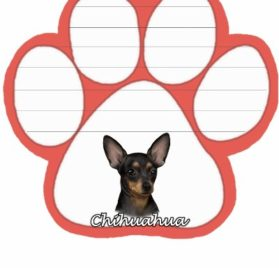 Chihuahua, Black Notepad With Unique Die Cut Paw Shaped Sticky Notes