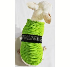 Lime Green Dog Costumes with Black Shiny Steam Punk Accessories Pet Clothing Handmade Crochet Chihuahua Clothes Puppy Df48 By Myknitt - Free Shipping - 4