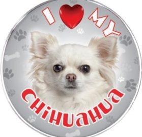 iLeesh I Love My Chihuahua Reflective Decal, White Long Haired