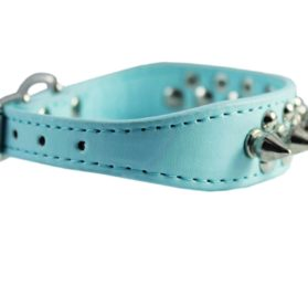 "8""-10"" Cyan Faux Leather Spiked Studded Dog Collar 3"