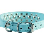 """8""""-10"""" Cyan Faux Leather Spiked Studded Dog Collar 4"""