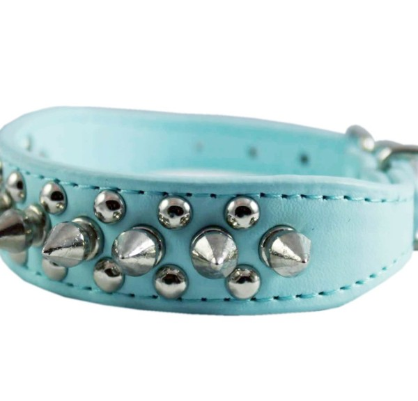 "8""-10"" Cyan Faux Leather Spiked Studded Dog Collar"