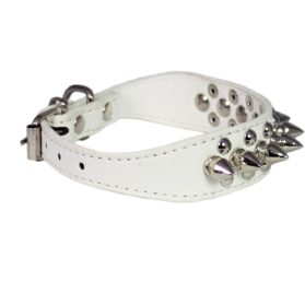 "8""-10"" White Faux Leather Spiked Studded Dog Collar 3"