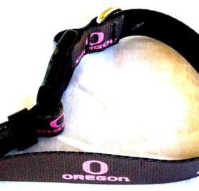 Oregon Ducks Pink Oregon and O on Grey Dog Collar