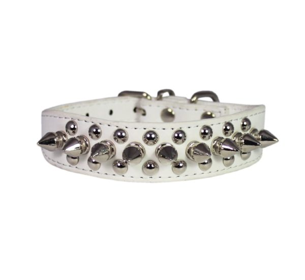 """8""""-10"""" White Faux Leather Spiked Studded Dog Collar"""