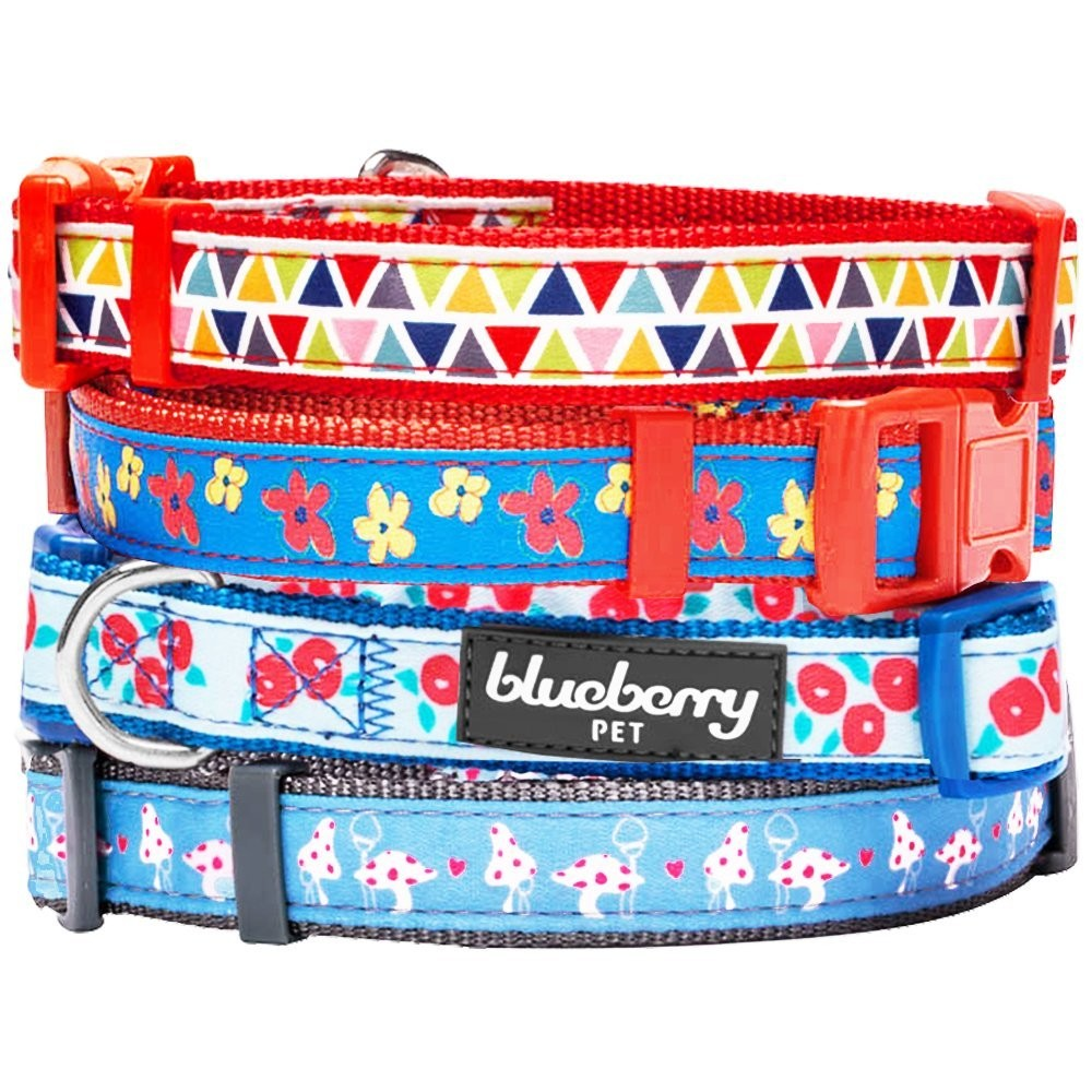 Home collars blueberry pet dog collar nautical flags inspired - Blueberry Pet Vibrant Triangle Floral Garden And Mushroom Pattern Dog Collar