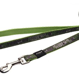 6-ft Long Fixed Dog Lead, Lime Bone Design