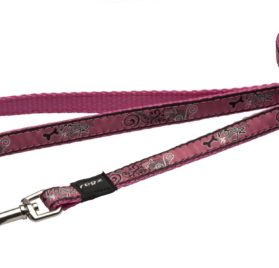 6-ft Long Fixed Dog Lead, Pink Bone Design