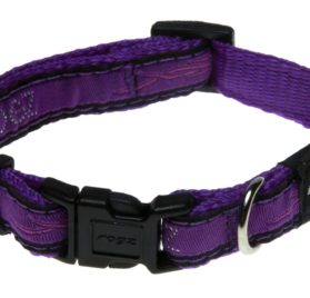 Rogz Fancy Dress Small 3/8-Inch Jellybean Dog Collar, Purple Chrome Design
