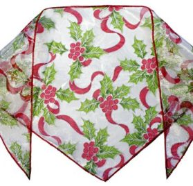 "Christmas Sparkle Holly Bandana (S) Ties on 9"" - 10"" neck - 1"