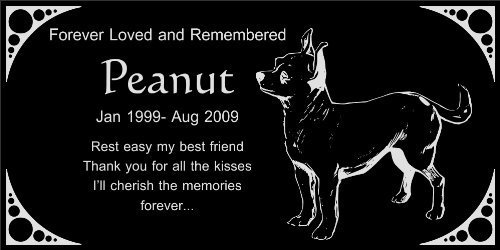"Personalized Chihuahua Pet Dog Memorial 12""x6"" Engraved Black Granite Grave Marker Head Stone Plaque PEA1"