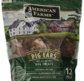 AMERICAN FARMS 481015 Natural Pig Ear Bagged for Pets, 23.04-Ounce