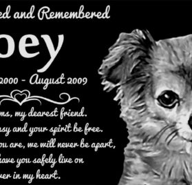 "Personalized Long Haired Chihuahua Dog Pet Memorial 12""x6"" Engraved Black Granite Grave Marker Head Stone Plaque JOE1"